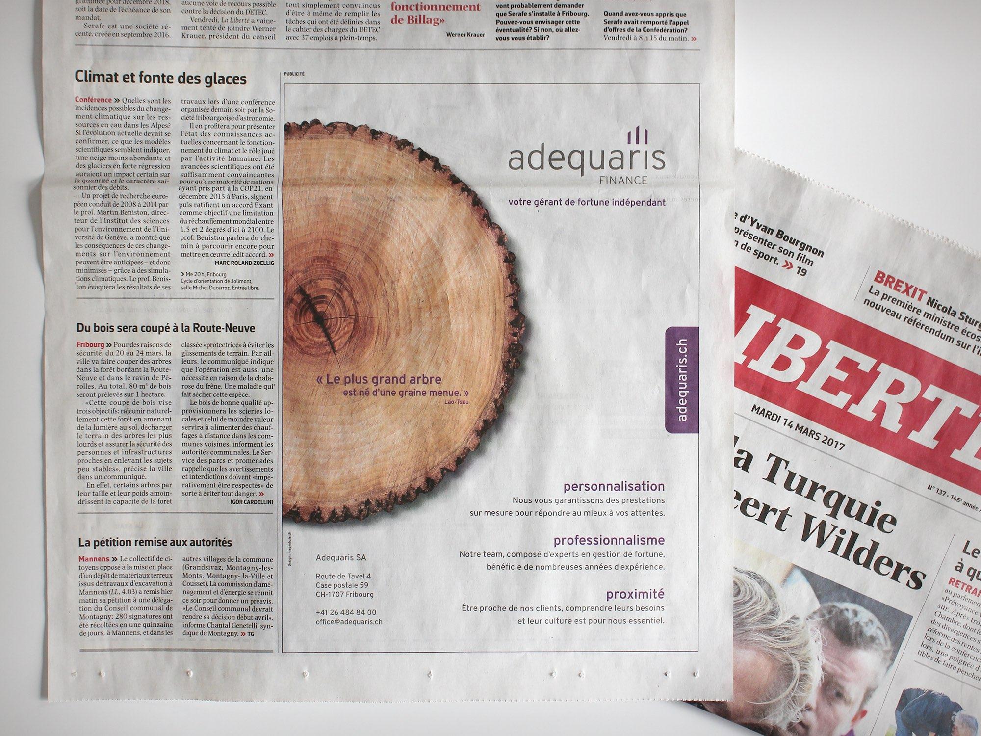Adequaris SA – Annonce presse par Créambule