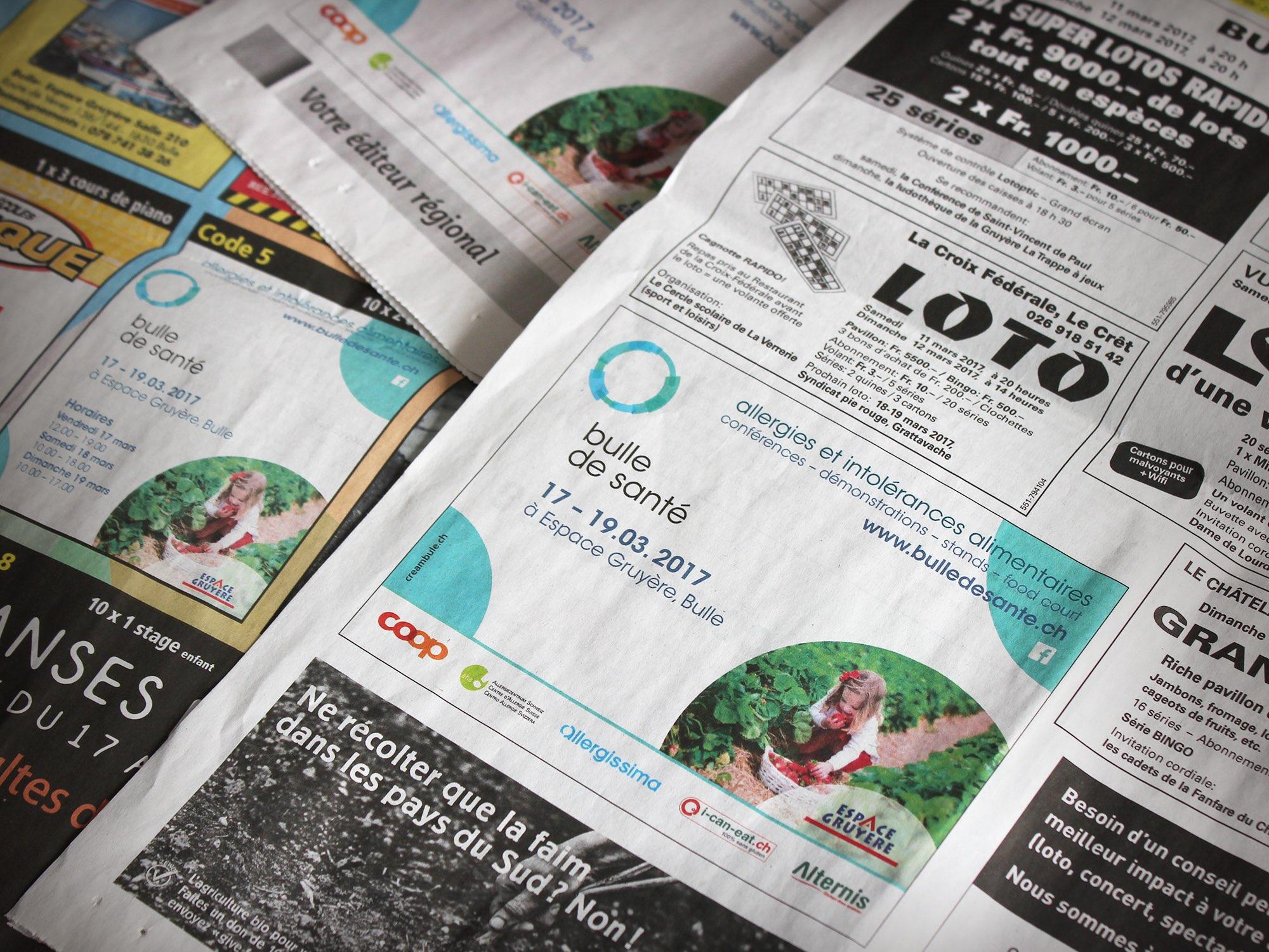Espace Gruyère SA – Annonce presse pour «Bulle de santé» par Créambule