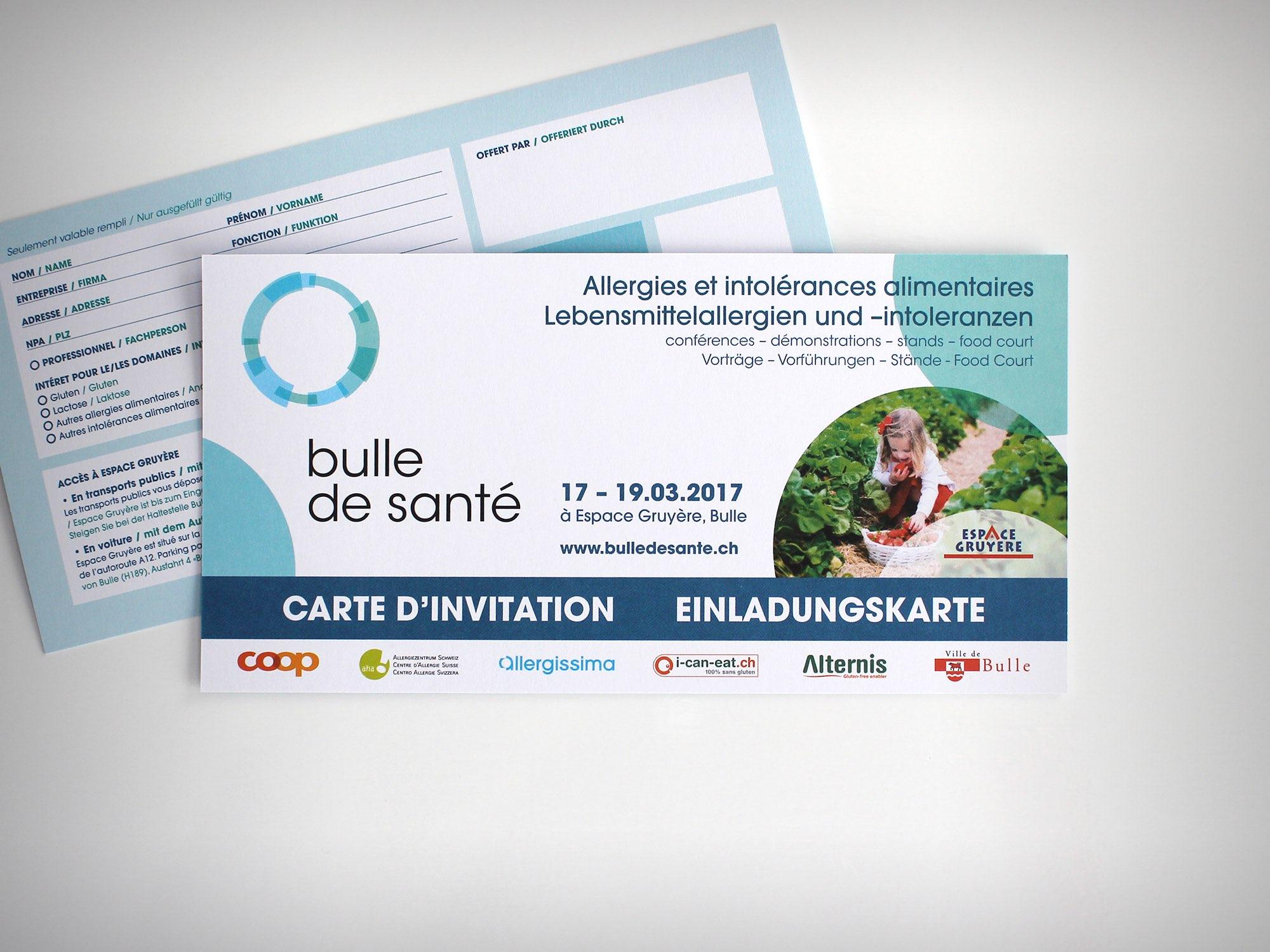 Espace Gruyère SA – Carton d'invitation pour «Bulle de santé» par Créambule