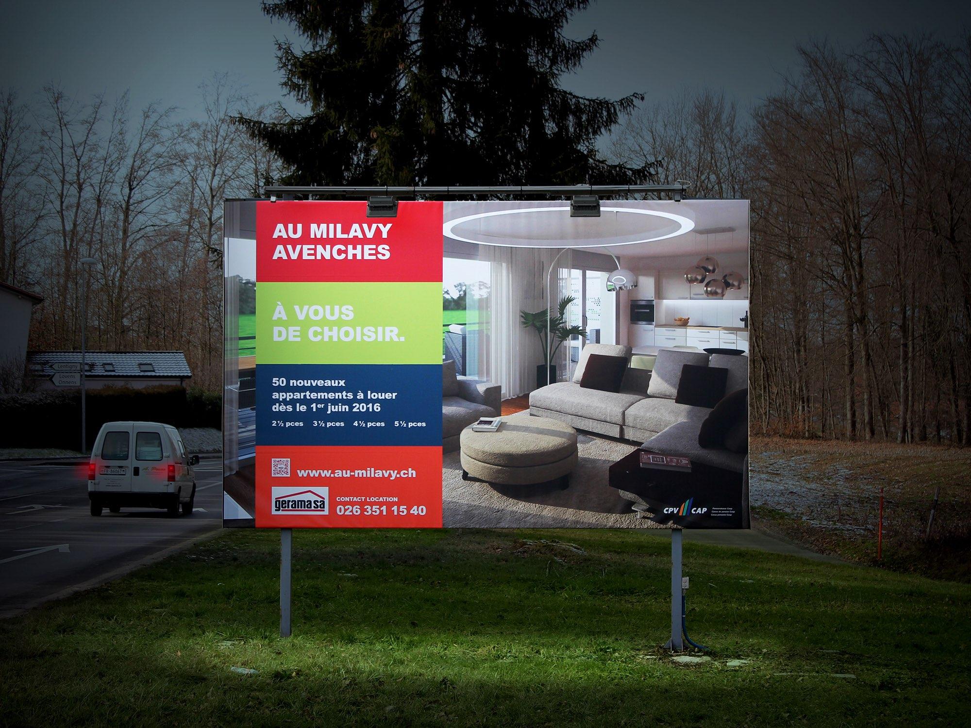 Gerama Immobilier SA – Panneau pour promotion immobilière «Au Milavy Avenches» par Créambule