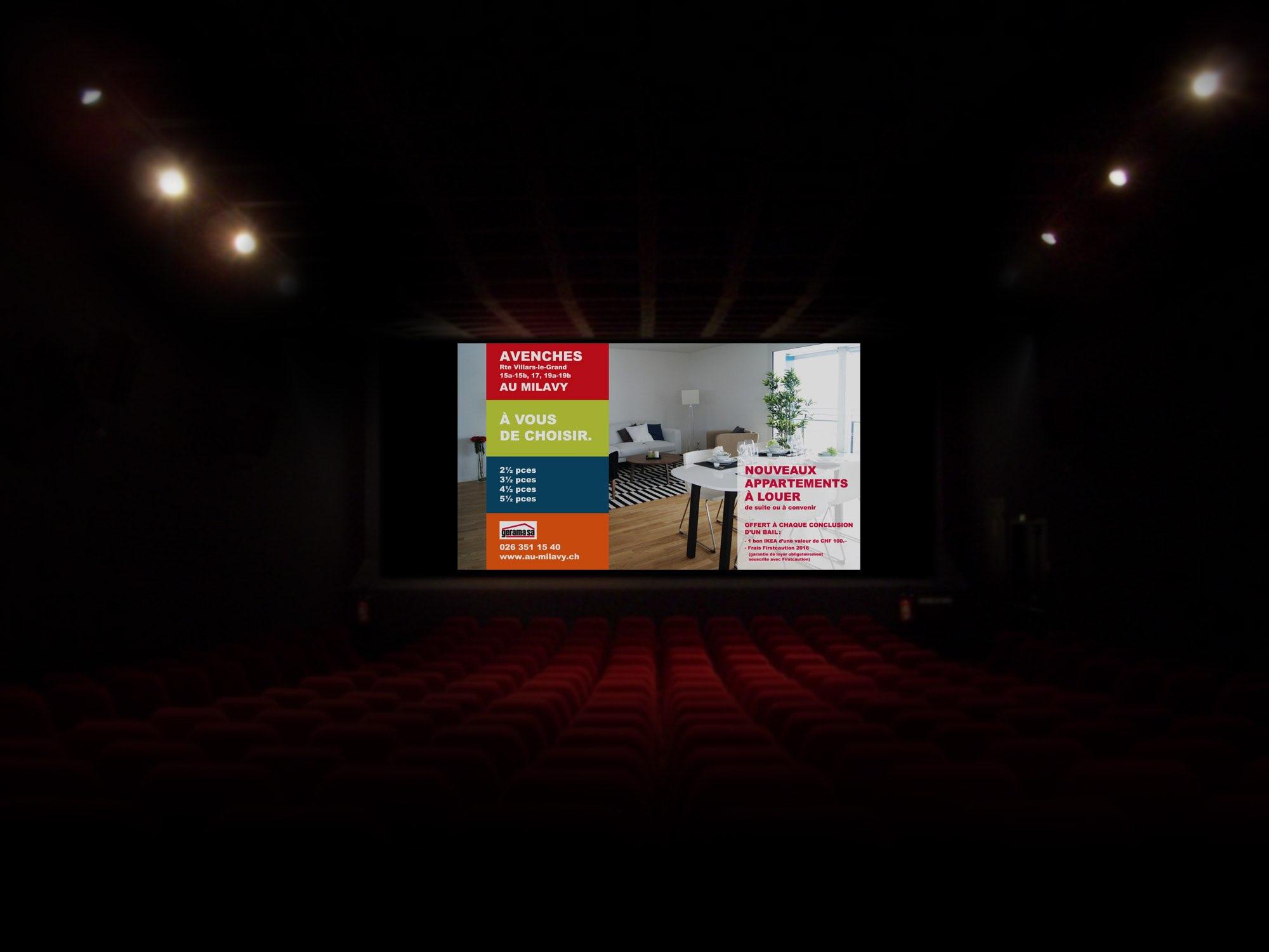 Gerama Immobilier SA – Annonce cinéma pour promotion immobilière «Au Milavy Avenches» par Créambule