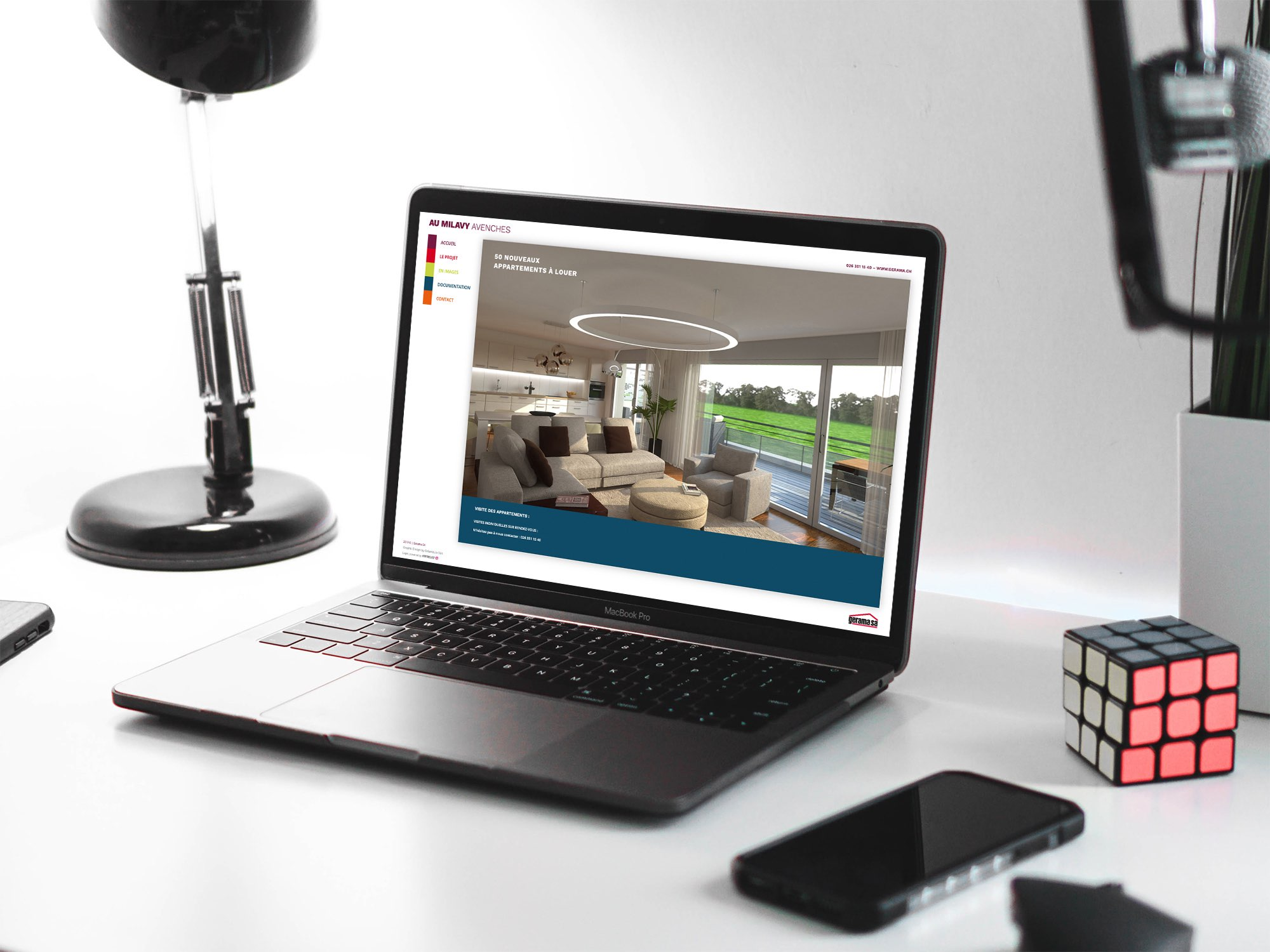 Gerama Immobilier SA – Site web pour promotion immobilière «Au Milavy Avenches» par Créambule