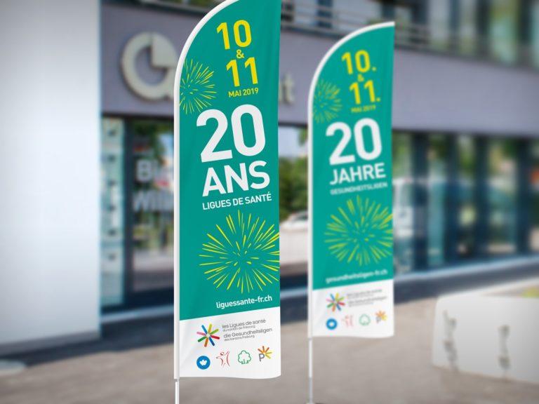 Les Ligues de Santé du canton de Fribourg – Drapeau fun flag pour l'event «20 ans des Ligues de santé» par Créambule