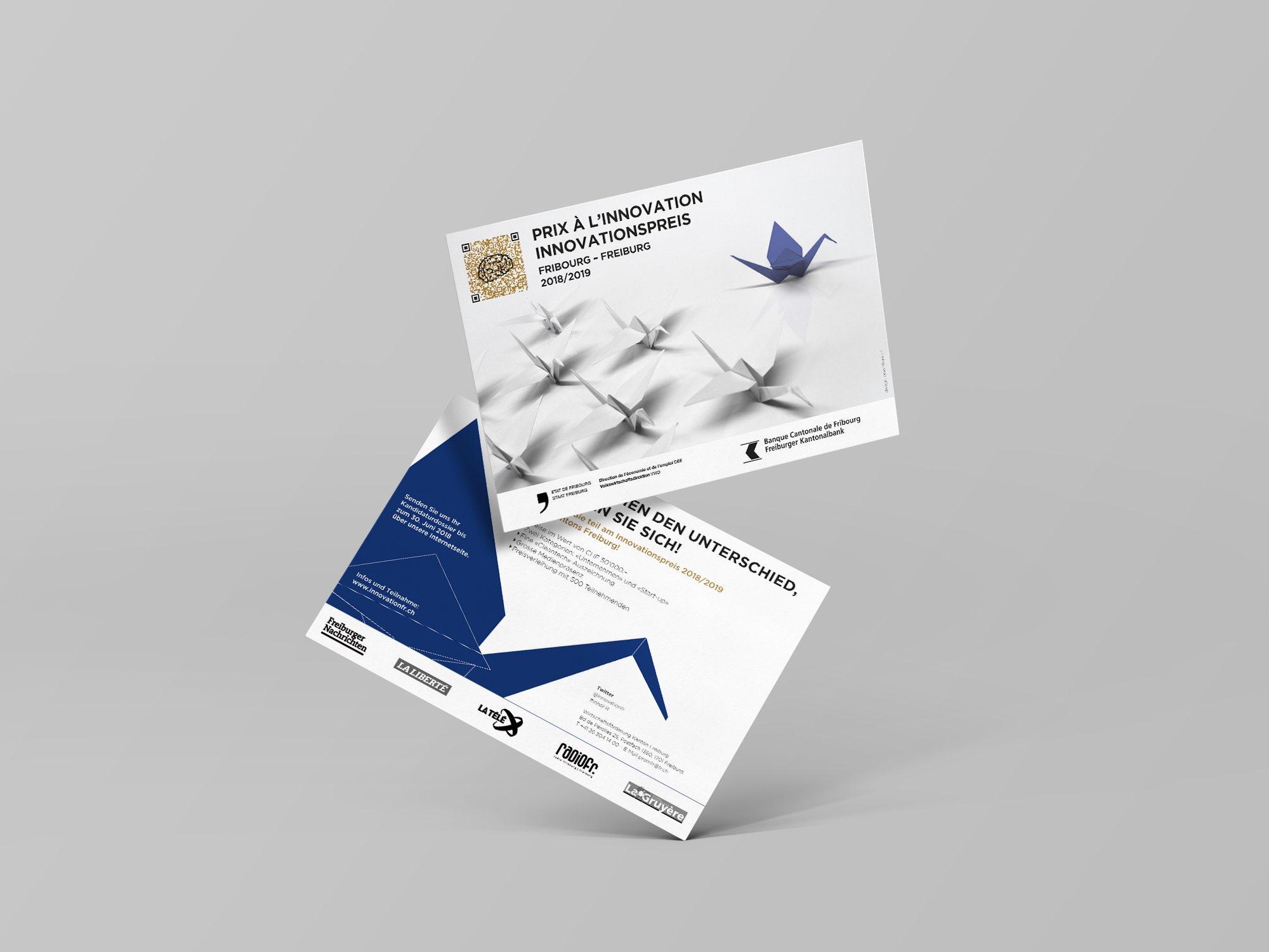 État de Fribourg, PromFR – Carton d'invitation pour le «Prix à l'Innovation» par Créambule