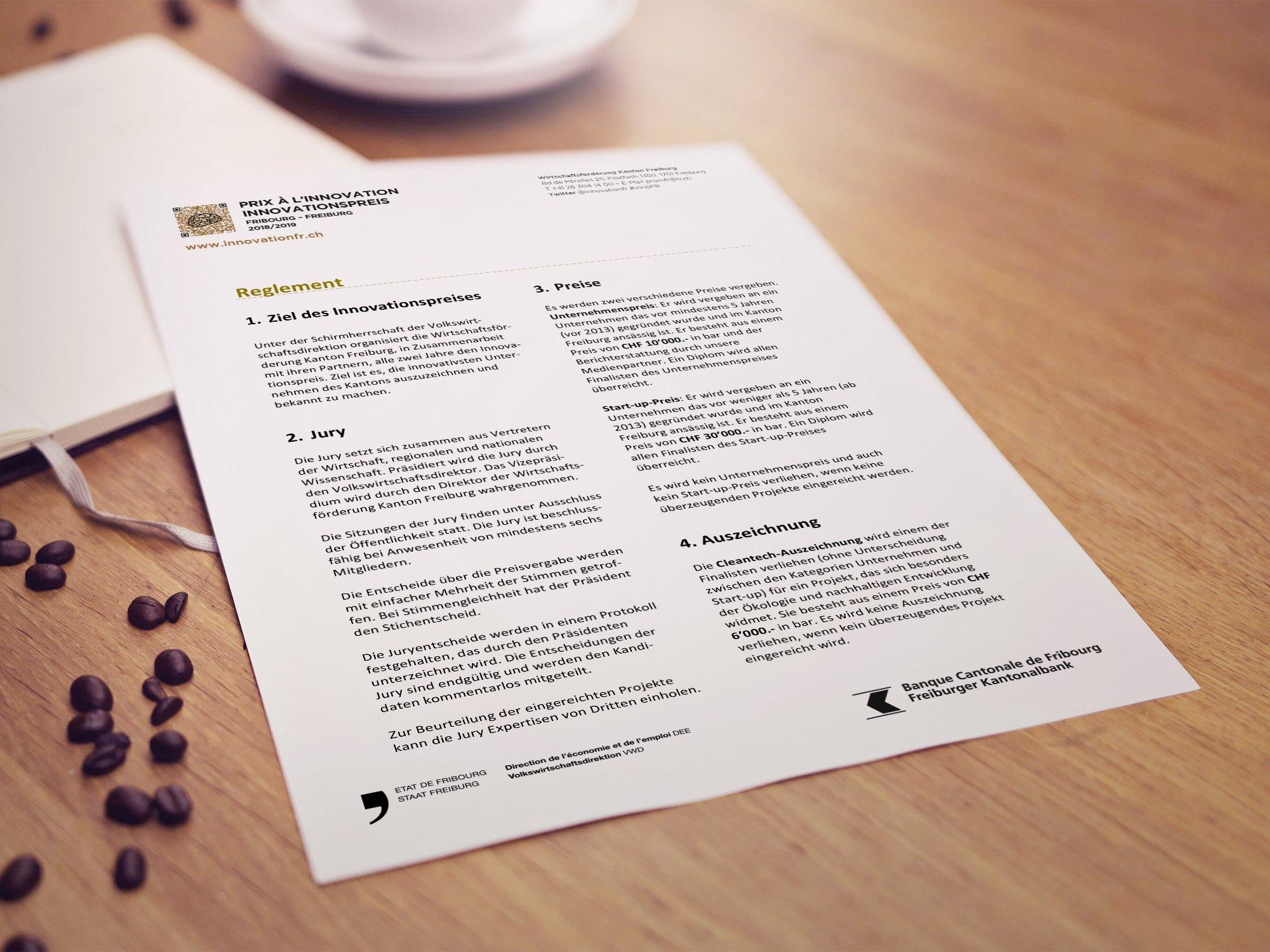 État de Fribourg, PromFR – Mise en page de divers documents pour le «Prix à l'Innovation» par Créambule