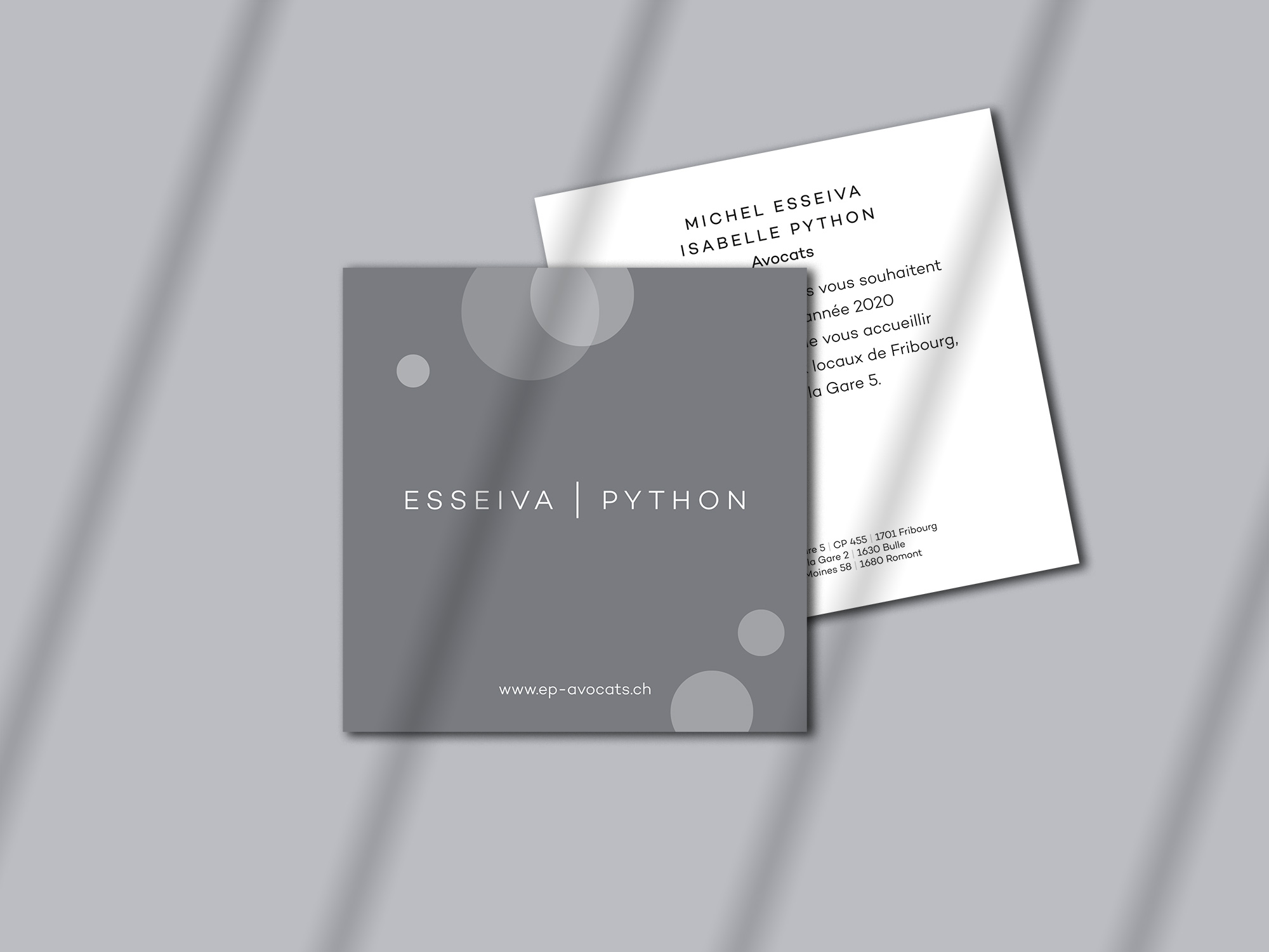 Étude Esseiva Python – Cartes de vœux – Réalisation Créambule Sàrl