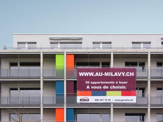 Gerama Immobilier SA – Bâche pour promotion immobilière «Au Milavy Avenches» par Créambule
